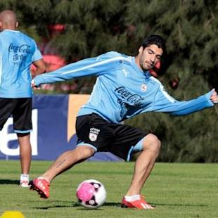 Uruguay's Suarez participates in a team training session at their team headquarters on the outskirts of Montevideo
