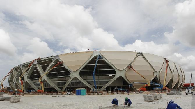 A view of the outside of the Arena Amazonia stadium in Manaus