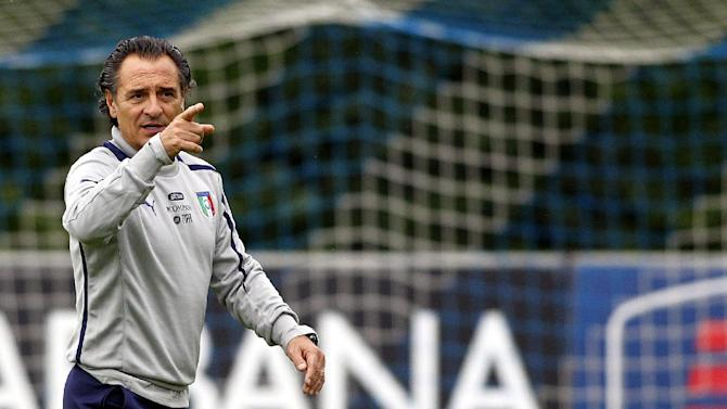 Italy coach Cesare Prandelli gestures during a training session at the Coverciano training grounds, near Florence, Italy, Monday, Oct. 7, 2013. Italy is scheduled to play a World Cup qualifier soccer match against Denmark, in Copenhagen, Friday, Oct. 11