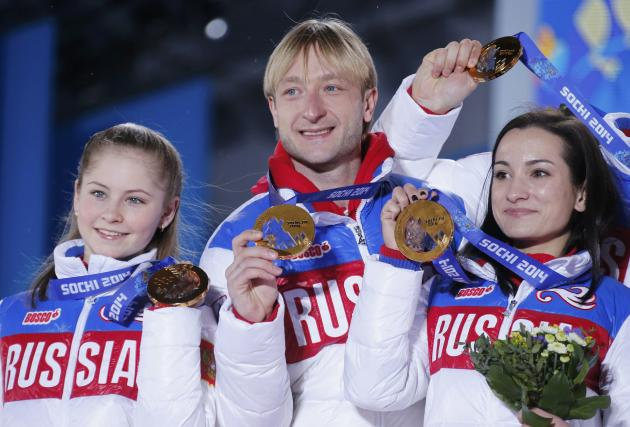 Medal ceremony for the figure skating team ice dance free dance at the Sochi 2014 Winter Olympics