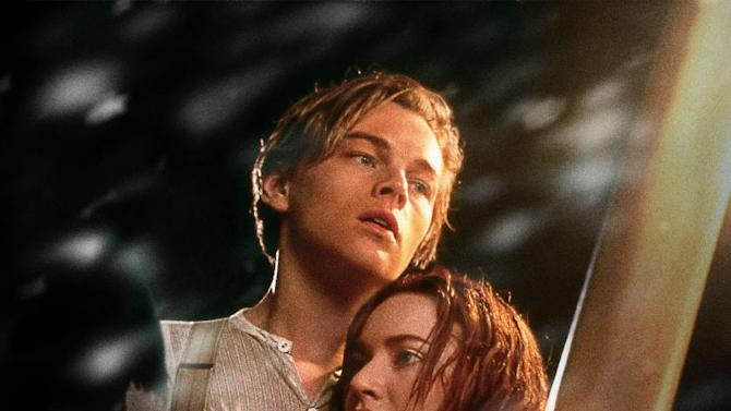 "In this film image released by Paramount Pictures, Leonardo DiCaprio, left, and Kate Winslet are shown in a scene from the 3-D version of James Cameron's romantic epic ""Titanic."" (AP Photo/Paramount Pictures, Rick Lynch)"