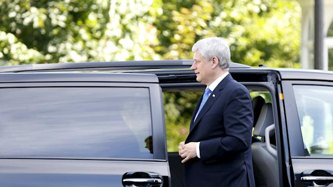 Canada's Prime Minister Harper arrives at Rideau Hall in Ottawa