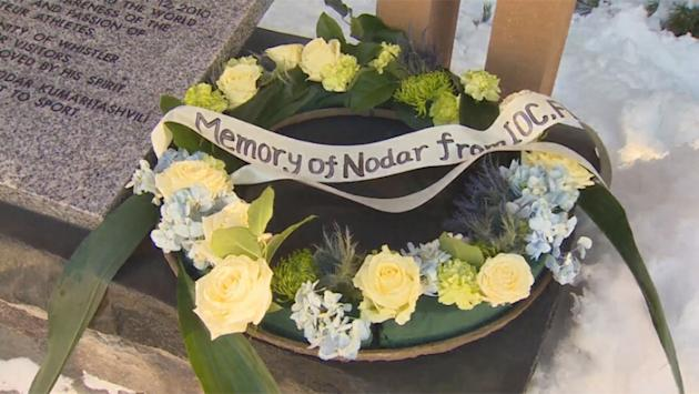 A representative of the Canadian Luge Federation laid the wreath at the permanent memorial to Nodar Kumaritashvili on Whistler's Olympic Plaza.