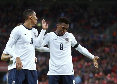 England's Sturridge celebrates after scoring a goal during their international friendly soccer match against Denmark at Wembley stadium in London