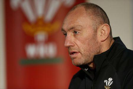 Wales forwards coach Robin McBryde during the press conference