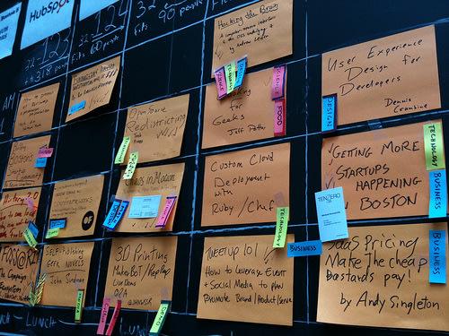 BarCamp Boston schedule board