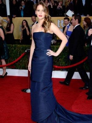 SAG Awards 2013: Jennifer Lawrence Is Slinky in a Navy Dior Couture Gown (Poll)