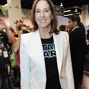 Lucasfilm President Kathleen Kennedy appears on the Cantina set at Star Wars Celebration: The Ultimate Fan Experience held at the Anaheim Convention Center on Thursday, April 16, 2015, in Anaheim, Calif. (Photo by Richard Shotwell/Invision/AP)
