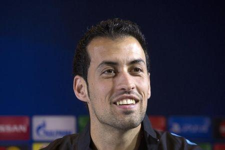 Barcelona's player Busquets attends a news conference in Minsk