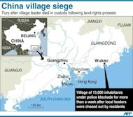 Map of Guangdong province in southern China locating Wukan village. Protesters in the village say they will march on government offices this week unless the body of a local leader is released and four villagers in police custody are freed