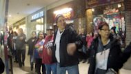 Hundreds of people joined hands and took part in a round dance flash mob as part of a peaceful Idle No More protest at West Edmonton Mall on Tuesday evening.