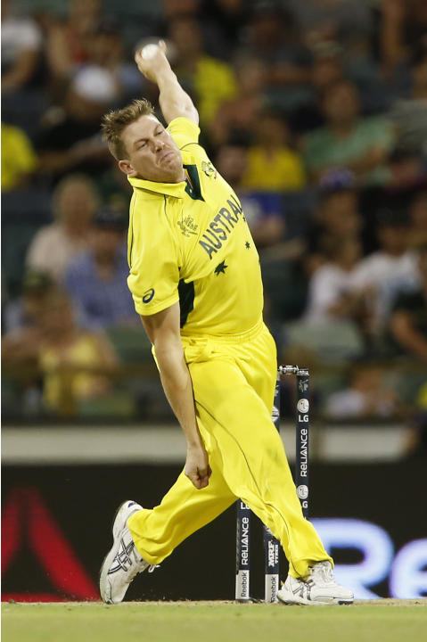 Australia's James Faulkner bowls during their Cricket World Cup Pool A match against Afghanistan in Perth, Australia, Wednesday, March 4, 2015. (AP Photo Theron Kirkman)