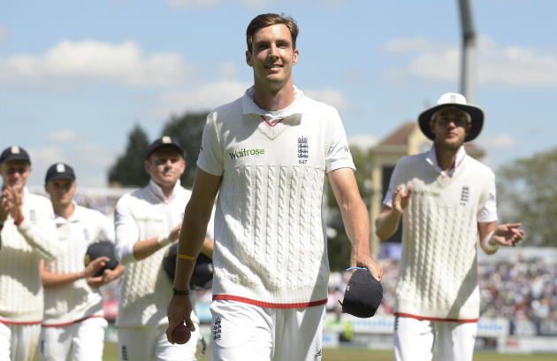 England's Steven Finn leaves the field after England won the third Ashes Test match