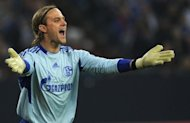Schalke 04 goalkeeper Timo Hildebrand, seen here in March 2012, faces a race against time to be fit for the Royal Blues' opening Champions League match at Greece's Olympiacos on September 18 after injuring his knee