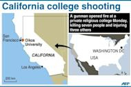 Map locating Oikos University in California, US, were seven people were killed and three injured when a gunman opened fire, officials said.