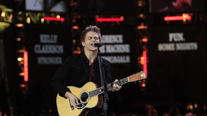 Hunter Hayes performs at the Grammy Nominations Concert Live! at Bridgestone Arena on Wednesday, Dec. 5, 2012, in Nashville, Tenn. (Photo by Wade Payne/Invision/AP)