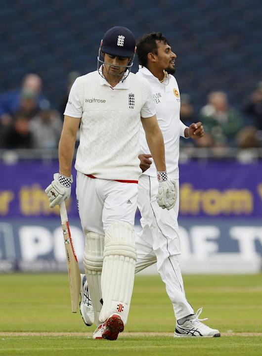 England's Alastair Cook looks dejected after being dismissed by Sri Lanka's Suranga Lakmal