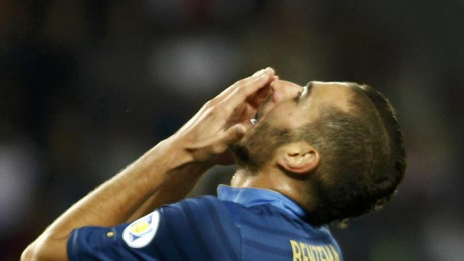 France's Karim Benzema reacts during the 2014 World Cup qualifying soccer match against Georgia at the Boris Paichadze National Stadium in Tbilisi