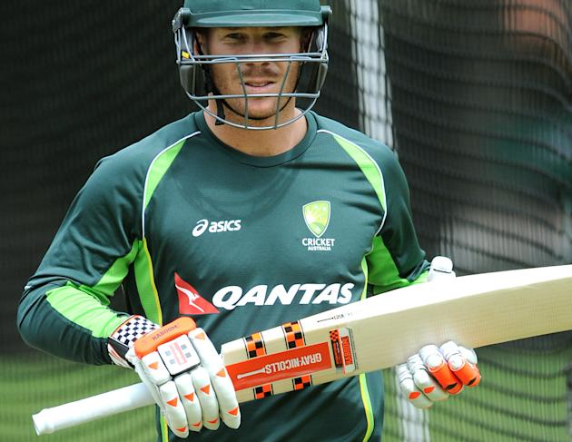 Australia's David Warner during net practice in preparation for the  for the third Ashes Test cricket match, against England at Edgbaston, Birmingham, England, Tuesday, July 28, 2015. The third  Test