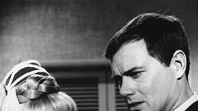 "FILE - This 1967 file photo shows Barbara Eden, left, and Larry Hagman in a scene from the television show ""I Dream of Jeannie.""  Actor Larry Hagman, who for more than a decade played villainous patriarch JR Ewing in the TV soap Dallas, has died at the age of 81, his family said Saturday Nov. 24, 2012.  (AP Photo/NBC, file)"