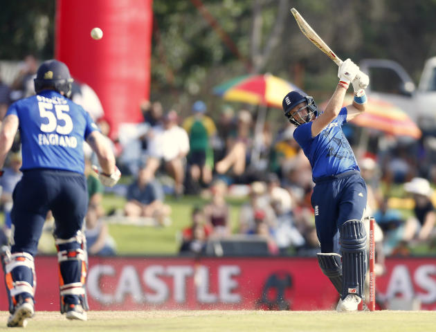 England's Root plays a shot during the third One Day International cricket match against South Africa in Pretoria