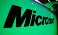 The Microsoft logo is seen at the Electronic Entertainment Expo in 2011 in Los Angeles, California. Microsoft's much-anticipated Windows 8 operating system is set to take pride of place as tens of thousands of people head to Asia's leading IT fair opening in Taiwan
