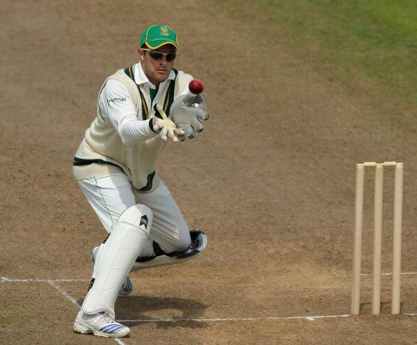 TAUNTON, UNITED KINGDOM - JUNE 30:  South African wicketkeeper Mark Boucher waits to collect the ball during day two of the tour match between Somerset and South Africa at The County Ground on June 30