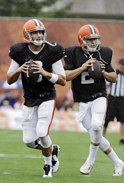 Brian Hoyer, left, is starting over Johnny Manziel – for now. (AP)