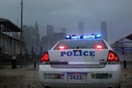 New York's police chief appealed for witnesses as a hunt intensified for a possible serial killer in Brooklyn, where three storekeepers have been shot dead in the last five months. File picture shows a police car looking out over Manhattan from near the Brooklyn Bridge