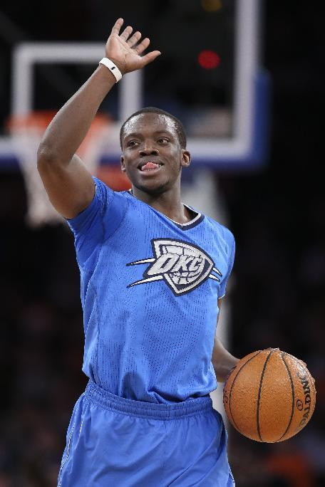 Oklahoma City Thunder point guard Reggie Jackson reacts during the second half of the Thunder's NBA basketball game against the New York Knicks at Madison Square Garden, Wednesday, Dec. 25, 2013, in New York. The Thunder won 123-94