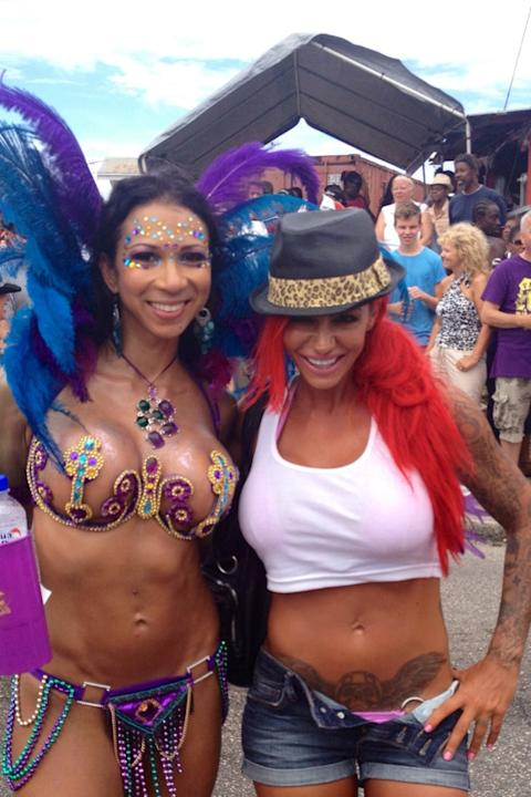 Celebrity Twitpics: Jodie Marsh has spent a week lying in the sun in Barbados. During some time away from the beach the former glamour model attended a carnival, where she tweeted photos of herself wi