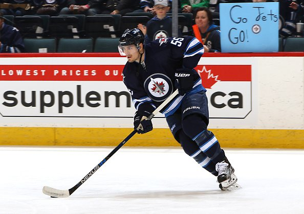 WINNIPEG, MB - APRIL 1: Mark Scheifele #55 of the Winnipeg Jets takes part in the pre-game warm up prior to NHL action against the Chicago Blackhawks at the MTS Centre on April 1, 2016 in Winnipeg, Manitoba, Canada. (Photo by Jonathan Kozub/NHLI via Getty Images)