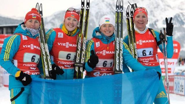 Biathlon - Ukraine's women romp to win in Oberhof