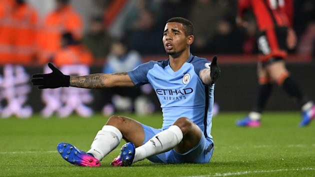 Manchester City tweeted a picture of forward Gabriel Jesus after his operation on a fractured metatarsal in Barcelona.
