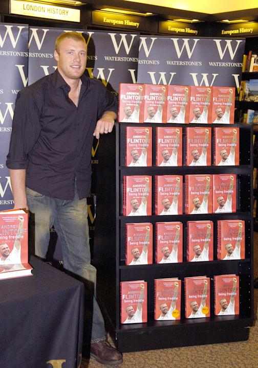 """Andrew Flintoff with his book """"Being Freddie"""" during Andrew Flintoff Signs His Book """"Being Freddie"""" at Waterstone's in London - October 27, 2005 at Waterstone's 311, Oxford Street in London, Great Bri"""