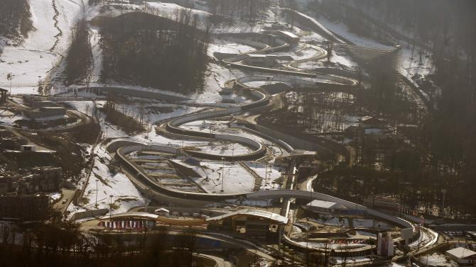 A general view shows the Sanki sliding center in Rosa Khutor, a venue for the 2014 Sochi Olympic Winter Games near Sochi