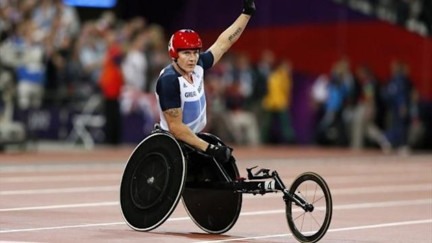 Britain's David Weir celebrates after winning the Men's 1500m Final T54 during the London 2012 Paralympic Games at the Olympic Stadium in London (Reuters)