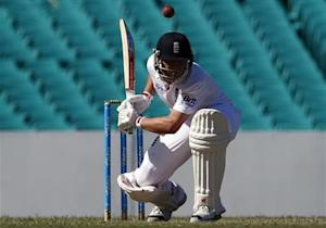 England's Trott ducks under a delivery during the warm-up match against the Cricket Australia Invitational XI at the Sydney Cricket Ground