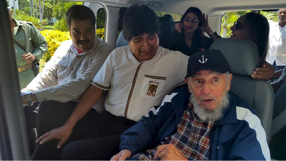 Castro, Morales and Maduro sit together in a van in Havana