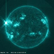 This image from NASA's Solar Dynamics Observatory shows a colossal X1.7-class solar flare erupting from the sun at 10:17 p.m. EDT on May 12, 2013 (Mother's Day). It is the strongest solar flare of 2013 so far.