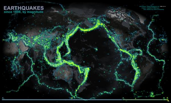 More than 100 years of earthquakes glow on a world map.