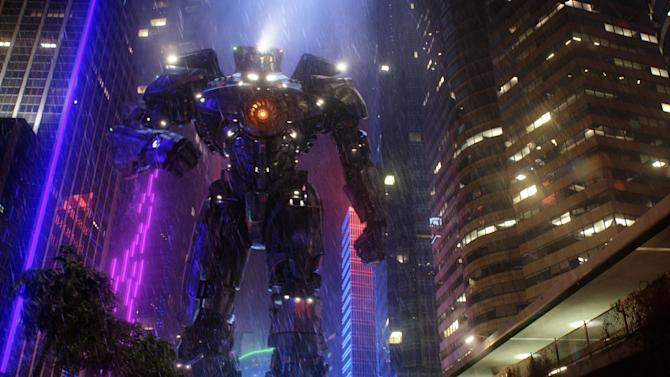 "This film publicity image released by Warner Bros. Pictures shows the Gipsy Danger robot in a scene from ""Pacific Rim."" ""Pacific Rim"" fulfills a very basic boyhood fantasy: big ol' robots and giant monsters slugging it out. The concept to Guillermo del Toro's ""Godzilla""-sized film is about as simple as it gets, but actually constructing such mammoth creations is a far more arduous undertaking. (AP Photo/Warner Bros. Pictures)"