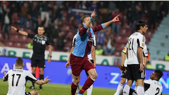 Trabzonspor's Janko celebrates his goal during their Europa League Group J soccer match with Legia in Trabzon, Turkey, Thursday, Oct. 24, 2013. (AP Photo