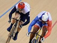 Britain's Jason Kenny (L) and France's Gregory Bauge compete in London 2012 Olympic Games men's sprint final, race 1, cycling event at the Velodrome in the Olympic Park in East London. Kenny claimed his first individual gold Monday when he stunned Bauge 2-0 at the London velodrome to win the coveted Olympic sprint title