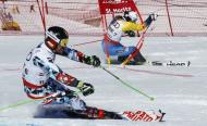 Alpine Skiing - FIS Alpine Skiing World Championships - Alpine Team Event - St. Moritz, Switzerland - 14/2/17 - Austria's Marcel Hirscher (L) skis in parallel slalom against Sweden's Andre Myhrer during the Mixed Team event. REUTERS/Ruben Sprich