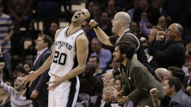 San Antonio Spurs' Manu Ginobili (20), of Argentina, reacts as he misses a shot against the New York Knicks during the second half on an NBA basketball game, Thursday, Jan. 2, 2014, in San Antonio. New York won 105-101