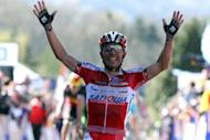 Spanish Joaquim Rodriguez of Team Katusha celebrates after winning the 76th edition of the Fleche Wallonne one-day cycling classic from Charleroi to Huy on April 18. Rodriguez is hoping to make amends for a missed opportunity in 2006 by upstaging former teammate Alejandro Valverde to claim his maiden win at Liege-Bastogne-Liege