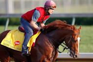 Daddy Long Legs trains on the track in preparation for the 138th Kentucky Derby at Churchill Downs on May 4. The colt finished 12th of 13 in the Breeders Cup Juvenile at Churchill Downs last year, but trainer Aidan O'Brien said that was due to a poor start