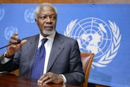 "UN-Arab League special envoy Kofi Annan gives a press conference at the United Nations office, in Geneva. World powers agreed Saturday to a plan for a transition in Syria that could include current regime members, but envoy Annan doubted if Syrians would pick leaders ""with blood on their hands"""