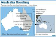 Map showing places in Australia where severe floods have been reported. Helicopters have plucked dozens of stranded Australians to safety in dramatic rooftop rescues as severe floods swept the northeast, killing four people and inundating thousands of homes